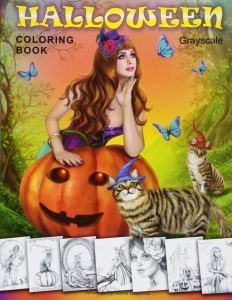 Halloween Coloring Book. Grayscale